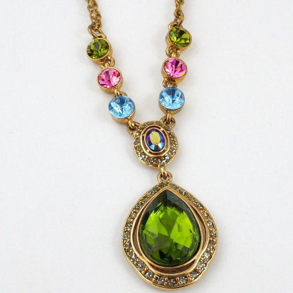 Jewelry - Faceted Green Teardrop Stone Necklace Gold Tone